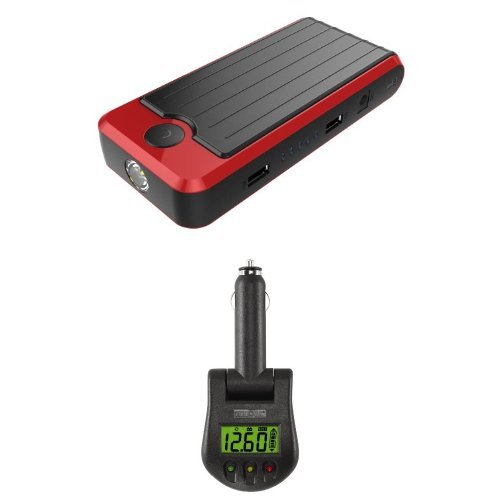 Battery And Charging System Monitor : Powerall rosso red black portable power bank and car jump
