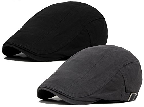 Qunson 2 Pack Men's Cotton Flat Ivy Gatsby Newsboy Driving Hat (Herringbone Flat Cap)