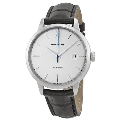 Montblanc Meisterstuck Heritage Silver Dial Black Leather Mens Watch 111622 (Montblanc For Men Watches)