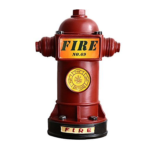 Baidecor Resin Red Fire Hydrant Money Box Piggy - Fire Piggy Bank Hydrant