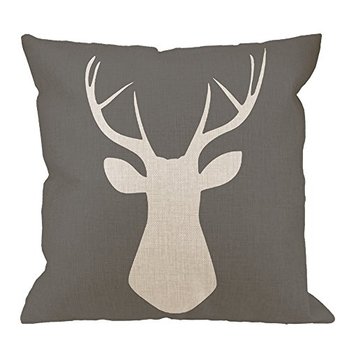 HGOD DESIGNS Throw Pillow Case Woodland Deer Head Cotton Linen Square Cushion Cover Standard Pillowcase for Men Women Kids Home Decorative Sofa Armchair Bedroom Livingroom 18 x 18 inch