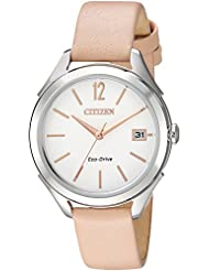 Citizen Womens Drive Quartz Stainless Steel and Leather Casual Watch, Color:Beige (Model: FE6140-03A)