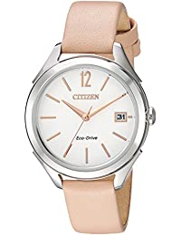 Womens Drive Quartz Stainless Steel and Leather Casual Watch, Color:Beige (
