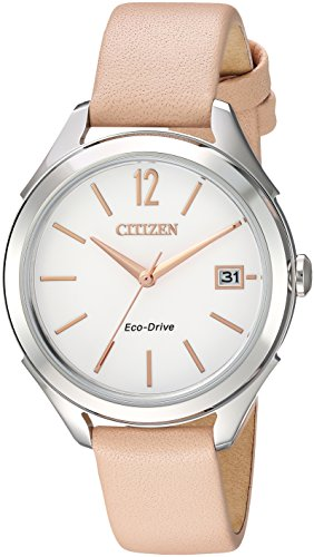 Citizen Women's 'Drive' Quartz Stainless Steel and Leather Casual Watch, Color:Beige (Model: - Watch Casual Ladies