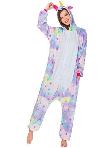 Winter Halloween Costumes (Adult Onesie Unicorn Pajamas for Women Kigurumi Animal Cosplay Halloween Costume, Star Rainbow Unicorn, L For Height 66