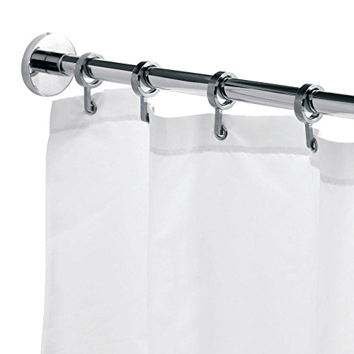 Croydex Luxury Chrome Aluminum Round Shower Curtain Rod with Curtain Hooks, 98.4 In. by Croydex (Image #1)