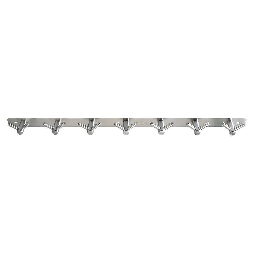 Alise Bathroom Towel Hook Towel Robe Coat Rack/Rail with 7 Double Hooks Wall Mount,SUS304 Stainless Steel Brushed Finish