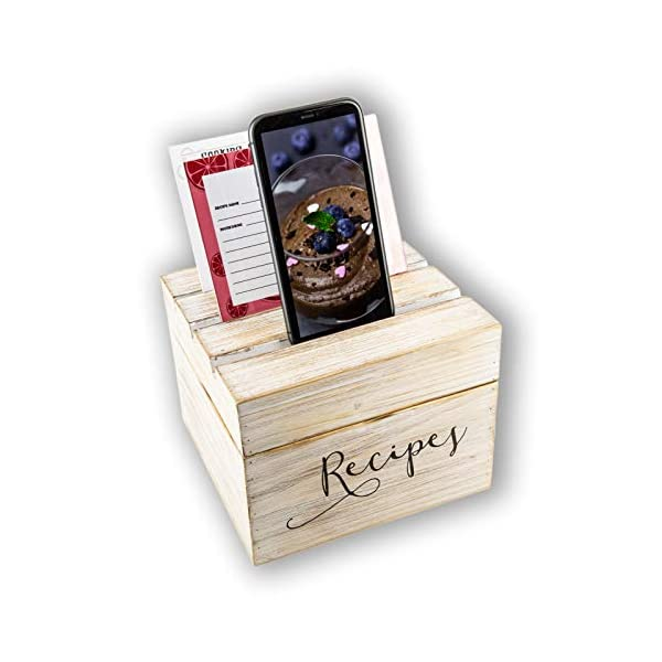 Fir-Wooden-Recipe-Box-Vintage-Style-Box-with-Cards-Dividers-Clear-Recipe-Protector-and-Phone-Holder-Gift-for-Women-Mom-Grandma-Bridal-Shower-Wedding-Mothers-Day-Christmas