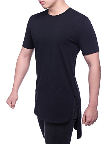 HEQU Men's Cotton Side Split Hipster Hip Hop Short Sleeve Long T Shirt Black 2XL