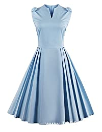 Louis Rouse Women's Vintage Dress Light Blue Solid Color Elegant Pleated Aline Dress