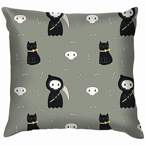 Grim Reaper Cloak Pattern (X-Large Repeat Kawaii Death Black Cat Throw Pillow Case Cushion Cover Pillowcase Watercolor for Couch 16X16)