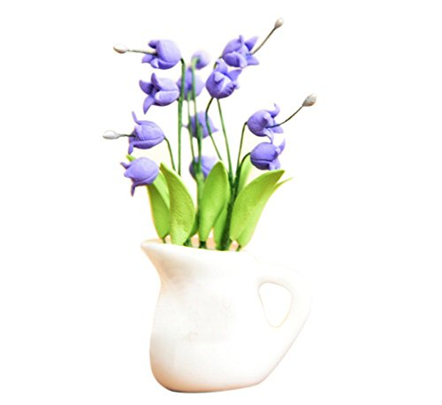 BESTLEE 1:12 Dollhouse Home Decoration Beautiful Clay Handcraft Purple Campanula with White Vase