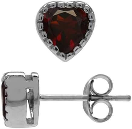 1.26ct. 5MM Petite Natural Heart Shape Garnet White Gold Plated 925 Sterling Silver Stud Earrings