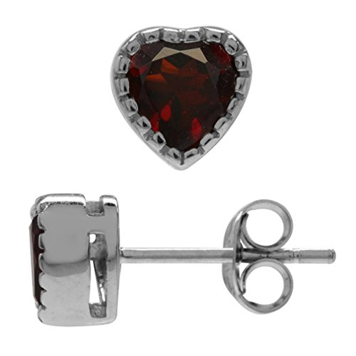 1.26ct. 5MM Petite Natural Heart Shape Garnet White Gold Plated 925 Sterling Silver Stud Earrings (1.26 Ct Heart)