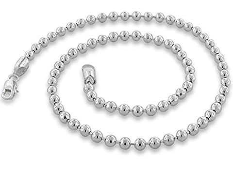 Sterling Silver Ball Bead Chain 5mm Made in Italy Solid 925 Womens Mens Necklace 20
