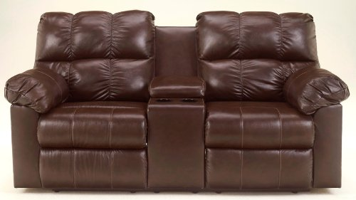 Signature Design by Ashley 2900194 Kennard Collection Reclining Loveseat with Console, Chocolate