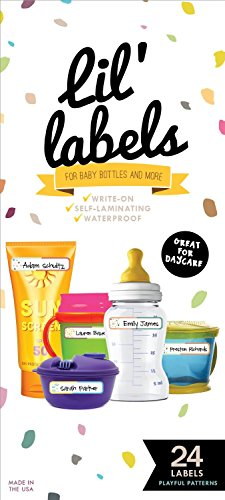 Bottle Labels, Write-On, Waterproof Labels for Baby Bottles for Daycare, 2 Bonus Gifts (Playful Patterns)