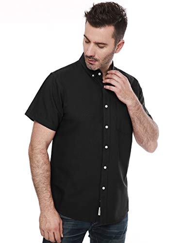 Men's Short Sleeve Oxford Button Down Casual Shirt Black