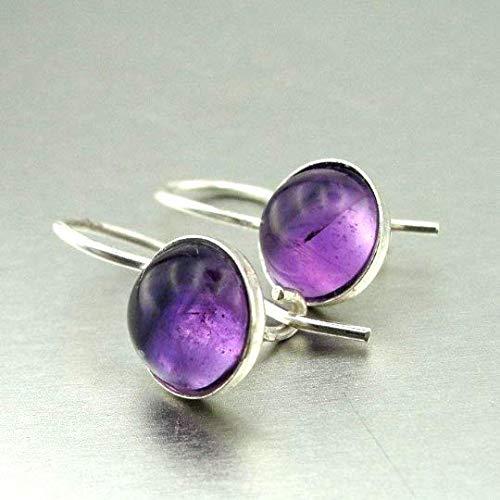 Romantic gift Small Earrings Charming 925 Sterling Silver and Genuine Natural Amethyst crystal Earrings Purple Stone Earrings Round Earrings