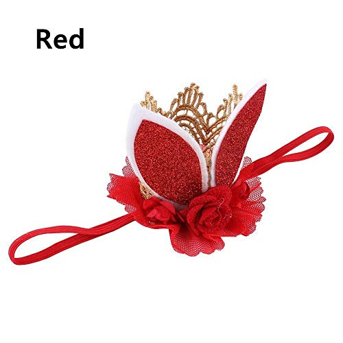 (Glitter Lace Rabbit Bunny Ears Kids Baby Headband Hair Band Flower Crown (color - red))