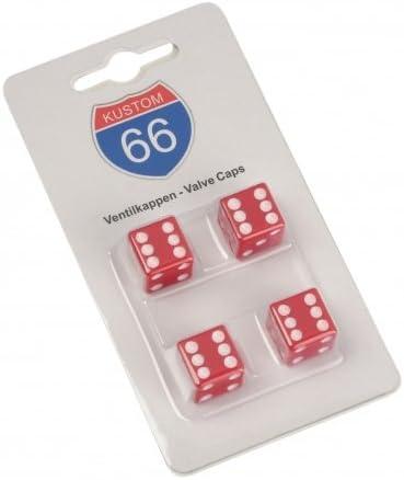 KUSTOM66 Lot de 4/Bouchons de Valve Vegas Cube en Rouge