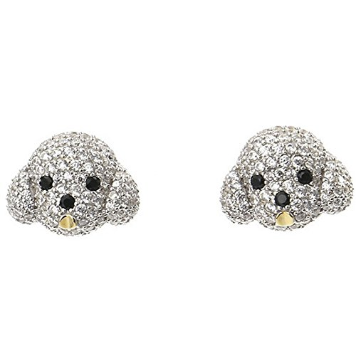 ing Silver Bichon Dog Aminal Stud Earrings Puppy CZ Studs for Women Girls ()