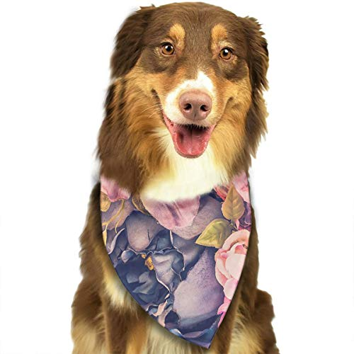 OURFASHION Autumn Season Classy Rose Flower Bandana Triangle Bibs Scarfs Accessories for Pet Cats and Puppies.Size is About 27.6x11.8 Inches (70x30cm). -