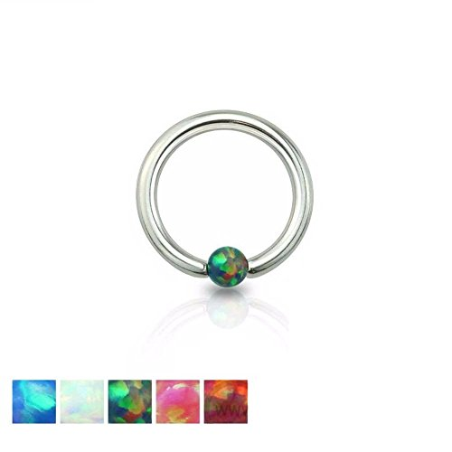 Freedom Fashion Synthetic Opal Ball 316L Surgical Steel Captive Bead Ring (Sold Individually) (16GA, 3/8 Inch, White)