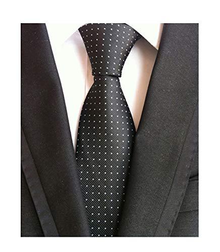 (Men's Black and White Jacquard Woven Silk Tie Textured Slim Cut Working Neckties)