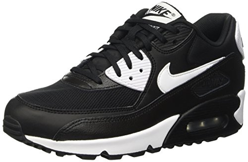 Nike Women's Air Max 90 Essential Black/White/Metallic Silver - All Black Air Max 90