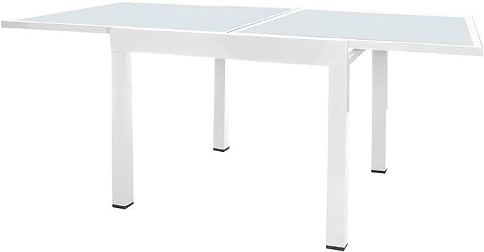 Mesa terraza Extensible Aluminio Blanco Garden - LOLAhome: Amazon ...