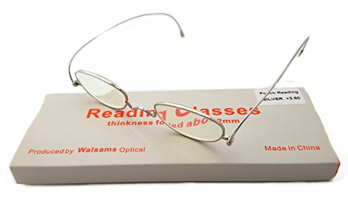 (Metal Smart Reading Glasses Impeccable Quality,Granny Look Timeless,Lightweight Foldable for Woman No Glare Scratch Resistance,Anti-Eyestrain Urban Thin only 2mm PD+1.5 (Silver, Strength+1.5))