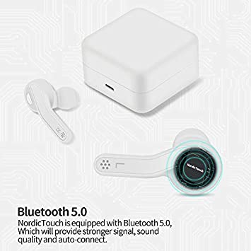 True Wireless Earbuds Auto-Connect Headphones, Sports in-Ear TWS Stereo 2 Mic Extra Bass IPX7 Sweatproof Instant Pairing 30H Battery Charging Case Noise Canceling Earphones by Nordic