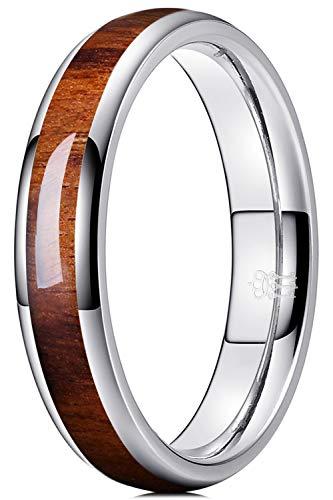 THREE KEYS JEWELRY 4mm 6mm 8mm Titanium/Tungsten Wedding Band for Men Women Santos Rosewood Wood Inlay Engagement Ring
