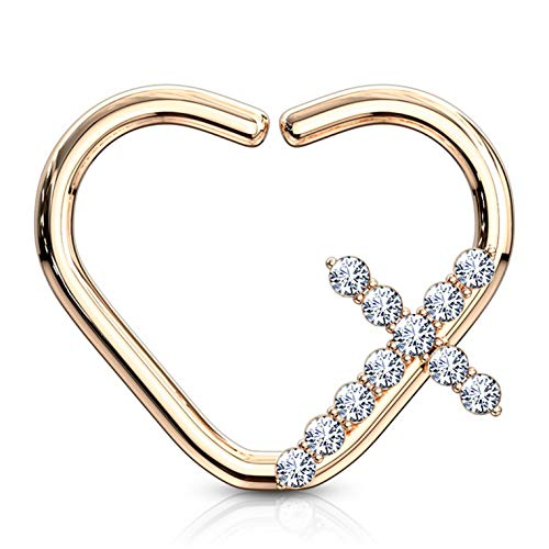 CZ Cross Heart Shaped Cartilage Tragus Daith Piercing Earring (Left or Right Ear) - 16G 3/8