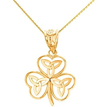 Amazon.com: Claddagh Gold 14k Yellow Gold Irish Shamrock