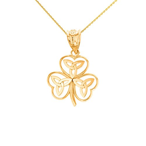 Claddagh Gold 14k Yellow Gold Irish Shamrock Pendant Necklace with Celtic Trinity Knot, 18