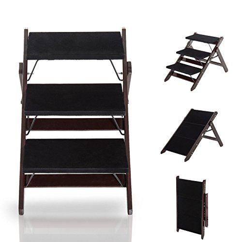 GHP 2-in-1 Convertible Dark Brown Pine Wood 3-Step Pet Dog Step Ladder Stairs Ramp by Globe House Products