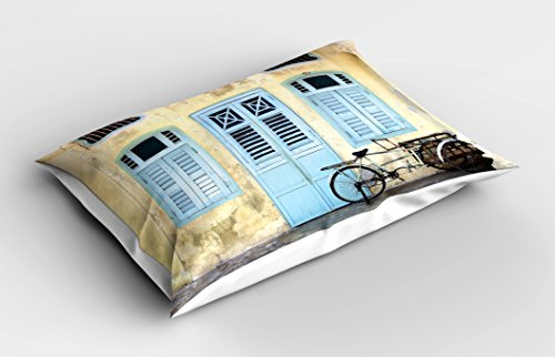 Lunarable Urban Pillow Sham, Traditional House Facade with Colorful Door Windows Old Street Malaysia Photo, Decorative Standard Queen Size Printed Pillowcase, 30 X 20 inches, Baby Blue Ivory by Lunarable (Image #1)
