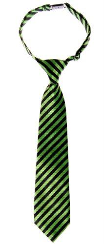 Retreez Striped Woven Pre-tied Boy's Tie - Green and Black Stripe - 4 - 7 - Green Black Stripes And
