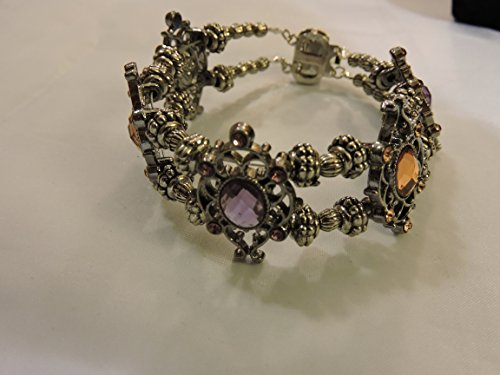 - Amethyst and Amber glass bead bracelet. Women's silver amethyst and amber bracelet