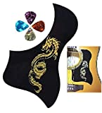 Black, Golden Dragon Design Acoustic Guitar Pick