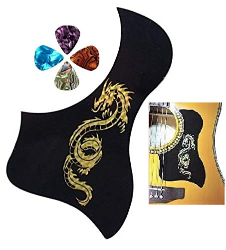Acoustic Guitar Pickguard Anti-scratch Plate, Bird Shape. Black With Dragon Pattern + Free Picks (From Magik Wagon)]()