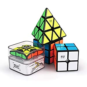 Classic Speed Cube Set : QiYi Premium WCA Twisty Puzzles Magic Cube Set - Black Floppy 1x3 Fidget Spinner cube, 2x2 Speed Cube, 3x3 Cube Thunderclap, Pyraminx Pyramid Cube, Bundle, Guide, Storage Bags
