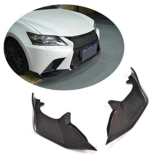 (MCARCAR KIT Front Splitter fits Lexus GS350 F-Sport 2013 2014 2015 Customized Real Carbon Fiber Moulding Upper Spoiler Vents Cover Flaps)