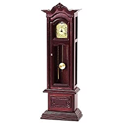 Dollhouse Miniature 1:12 Scale Working Mahogany Grandfather Clock #T3316