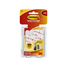 3M Command 17200CL Assorted Mounting Refill Strips, 8 Small 4 Medium 4 Large Strips