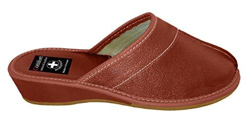 Natural en Aveente disponibles cuir coloris Nombreux Pantoufles femme pour Marron Line pqUxwqadH