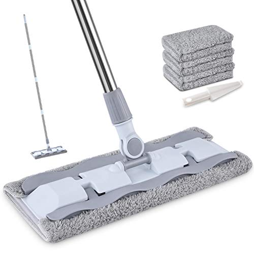 - Microfiber Hardwood Floor Mop with 4 Washable Pads, HOMTOYOU 360 Rotation Dust Flat Mop with Ultra Long Stainless Steel Handle for Home/Office Floor Cleaning