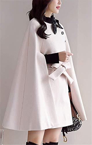 Une Élégant Mélange Veste Poncho Yogly Beige Chaud Femme Hiver Manteau Avec Ceinture De Laine Automene Cape Outwear 6xAA5gqw